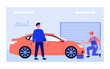 Mechanic examining and repairing red car. Worker in overall with spanner in garage flat vector illustration. Transport, maintenance, service concept for banner, website design or landing web page