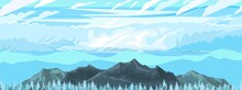 The Mountains. Mountain Range With Cliffs, Rocks And Peaks. Horizon. Landscape With Sky And Clouds. The Isolated Object On A White Background. Vector Illustration