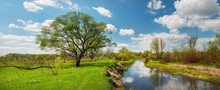 The River Among Green Fields And Clouds Reflecting In The Water In Spring At Times. Fresh Spring Foliage On The Trees. Panoramic Photo.