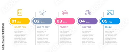 Concept of shopping process with 5 successive steps. Five colorful graphic elements. Timeline design for brochure, presentation, web site. Infographic design layout. - fototapety na wymiar