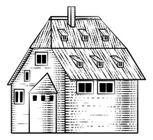 An Old Medieval House Or Inn Cottage Building Drawing Or Map Design Element In A Vintage Engraved Woodcut Style