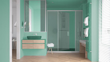 Minimalist Bathroom In Turquoise Tones With Sink, Large Shower With Glass Cabin, Heated Tower Rail, Towels, Herringbone Parquet, Window With Venetian Blinds, Interior Design Concept
