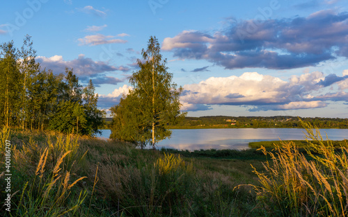 Fototapety, obrazy: Summer landscape with cloudy sky.