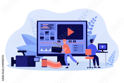 Obraz Tiny video operators working with visual media content flat vector illustration. Cartoon operators creating news footage in video editor. Multimedia studio, business and production concept - fototapety do salonu