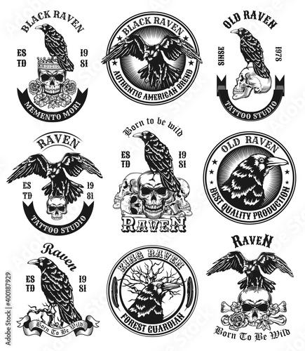 Fotografija Black ravens emblems set