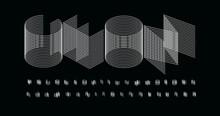 3D Futurism Alphabet. Thin Line Geometric Font, Minimalist Type For Modern Futuristic Logo, Headline, Monogram, Creative Lettering And Maxi Typography. Minimal Web Letters, Vector Typographic Design