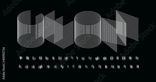 Canvas 3D futurism alphabet