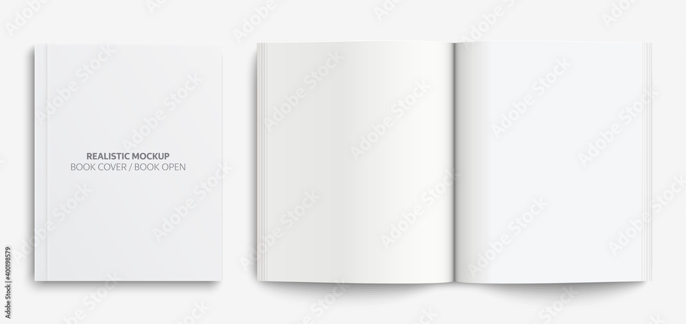 Fototapeta Blank book cover mockup. Realistic mockups book: Blank cover book and blank open book with shadows isolated on light background. Vector illustration EPS10