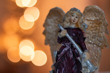 Christmas Angel Statue Witch Background Bokeh Lights