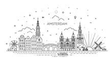 Amsterdam Travel Landmark Of Historical Building Thin Line Icon
