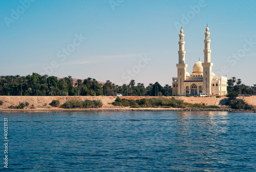 Obraz na plátne El Tabia Mosque with Minarets in Aswan, Egypt on the Bank of the River Nile