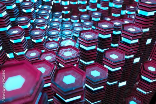 Fényképezés Metallic black blue ad pink glowing hexagons moving pillars background 3D render