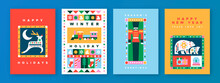 Christmas New Year Geometric Folk Icon Card Set