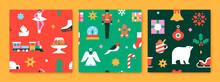 Christmas Holiday Seamless Pattern Flat Icon Set