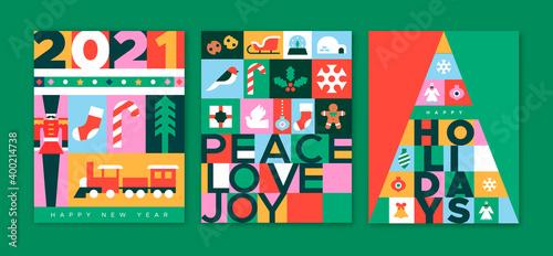 Christmas New Year 2021 flat folk icon card set