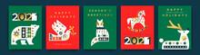 Christmas New Year Gold Folk Animal Card Set