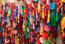 Collection Of Ritual Of Hanging Colorful Written Wishes On Together In Asia And China