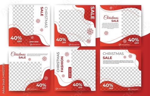 Set of christmas sale social media post template banner with photo collage Fototapeta