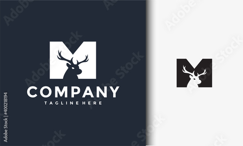 Fototapeta initials M deer logo obraz