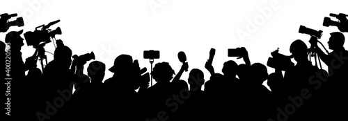 Journalists are interviewing. Press Conference of Reporters. Crowd of people with video cameras. Silhouette vector