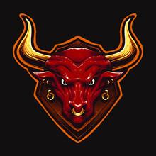 Red Bull Head Vector Illustration