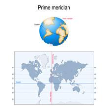 Equator, Prime Meridian. Globe, And Map