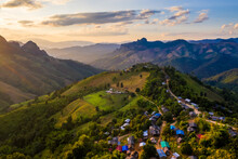 Aerial View Of Mountain Range In Ban Huay Hea Village In Pang Ma Pha District In Mae Hong Son, Northern Thailand
