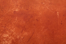Brown, Stained And Faded Leather Texture Background With Scratches