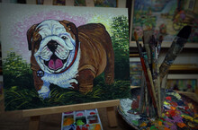 Art Painting Oil Color Bulldog , Paint Brushes, Palette ,in Gallery ,from Thailand