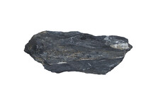 A Piece Raw Specimen Of Black Shale Rock Isolated On A White Background.