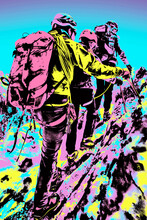 Climbers Walking On Snowy Path At The Aiguille Du Midi, Near Chamonix. A Famous Ski Resort In The French Alps. Blacklight Poster Filter.