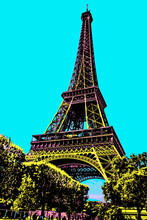 Bottom View Of Eiffel Tower Made In Art Nouveau Style And Garden At Paris. The French Capital Known As The City Of Light. Blacklight Poster Filter.