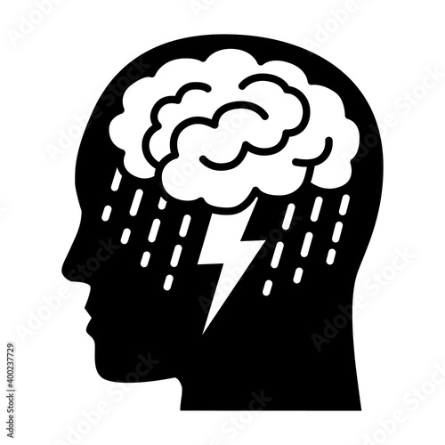 Photo Brainstorm or mental illness disorder flat vector icon for mental health apps an