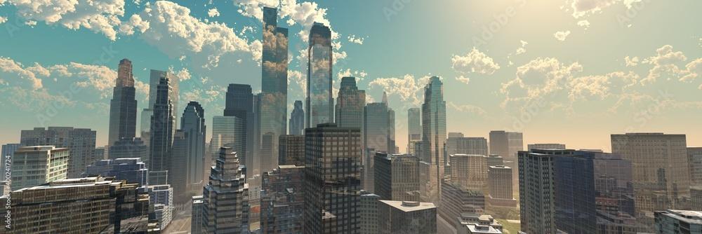Fototapeta City at dawn in fog,, 3d rendering