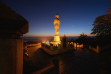 Gold Buddha Statue The Landmark Of Nan Province Thailand In Wat Phrathat Khao Noi Temple