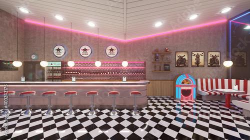 Fotografia Retro diner interior with a tile floor, neon illumination, jukebox and art deco style bar stools