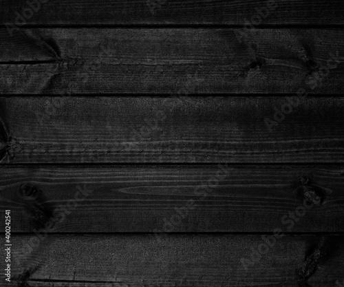 Obraz na plátně Wooden dark black retro blackboard planks wall ,table or floor texture banner background