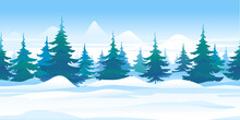 Winter Nature Landscape With Spruce Trees Tillable Horizontally, Beautiful Winter Day On Snowy Path Through The Forest, Spruce Trees In Mountains, In Search Of Forest Adventures