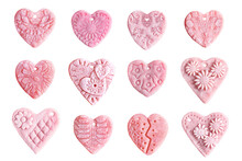 Set Of Pink Hearts Isolated On White Background