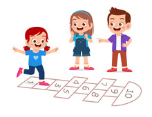 Happy Cute Little Kid Boy And Girl Play Hopscotch