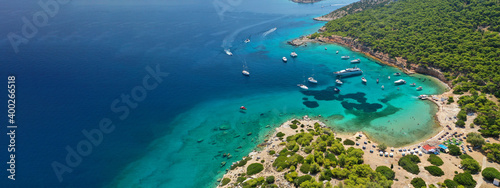 Valokuvatapetti Aerial drone ultra wide photo of exotic bay of Moni island visited by yachts and