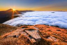 Ukraine, Zakarpattia Region, Rakhiv District, Carpathians, Chornohora, Mountain Landscape With Mountain Hoverla And Mountain Petros In Mist