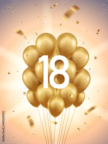 18th Year anniversary celebration background. Golden balloons and confetti with sunbeams in background.  Wall mural