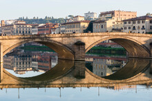 Italy, Tuscany, Florence, Cityscape Reflected In Arno River