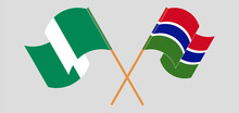 Crossed Flags Of Nigeria And The Gambia