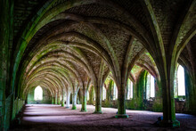 Basement Vaults Of Fountains Abbey, Old Monastery In North Yorkshire, United Kingdom