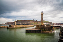 Pier And Lighthouse Of Whitby, Yorkshire, United Kingdom