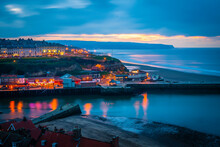Evening View Over Harbour Of Whitby, Yorkshire, United Kingdom