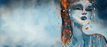 Abstract Portrait Of Girl. Painting On Canvas. Design Element