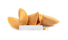 Traditional Homemade Fortune Cookies With Prediction On White Background